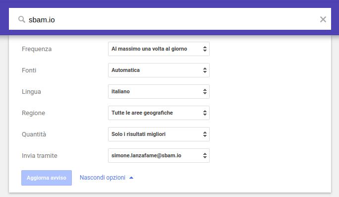 Anteprima google alert - sbam.io