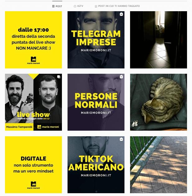 mario moroni feed - personal branding esempi